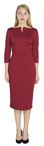 Dress Work Marycrafts Ruby Office Women's Business Neck Red Sheath Midi Square qr5q84