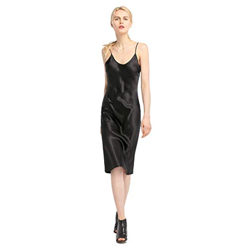(LilySilk Silk Cami Dress for Women Pure Natural 100 Silk Charmeuse for All Occasions in 22MM Long Black S/4-6)