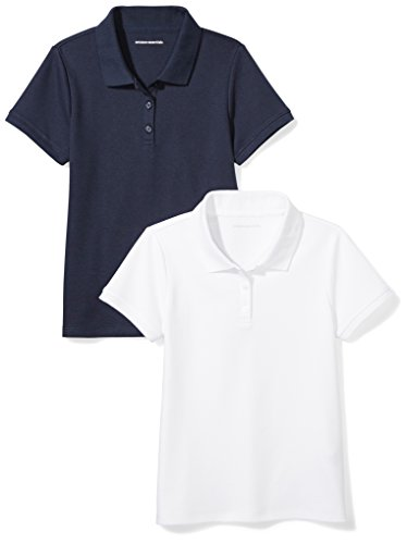 (Amazon Essentials Girls' Uniform 2-Pack Interlock Polo, Navy/White, S (6-7))
