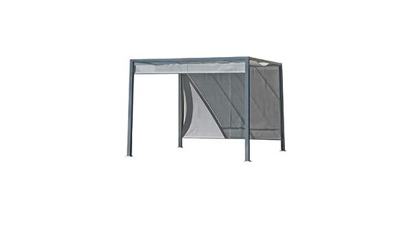 Pergola brise-Soleil Venezia 3 x 3 m en aluminio gris y cortinas ...