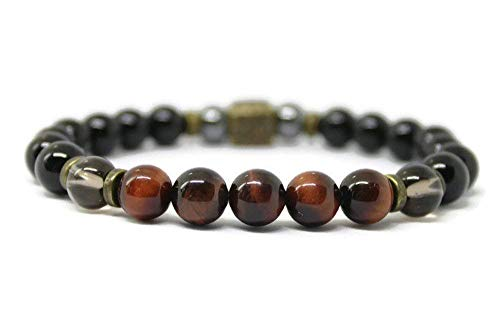 Unisex Gemstone Wellness Bracelet for Positive Energy, Anti Anxiety, Stress Relief with Black Onyx, Smokey Quartz, Red Tigers Eye, Hematite and antique copper or bronze accent -