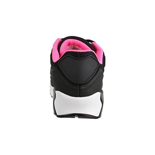 Elara Damen Herren Sneaker | Unisex Sport Laufschuhe | Turnschuhe | Chunkyrayan Black L.A.