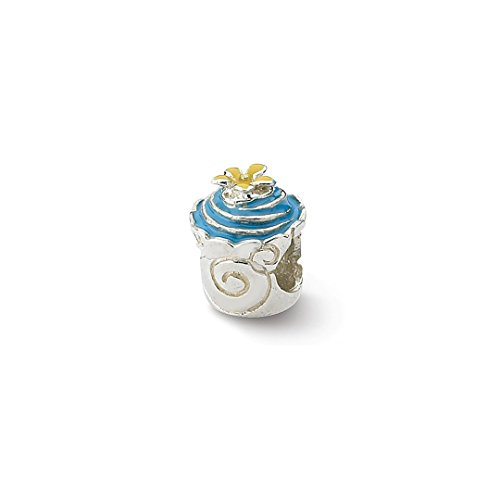 (925 Sterling Silver Charm For Bracelet Blue Enameled Cupcake Bead Food Drink Fine Jewelry Gifts For Women For Her)
