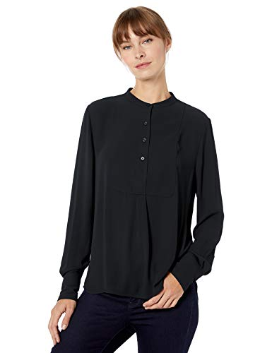 Amazon Brand - Lark & Ro Women's Long Sleeve Tuxedo Bib Woven Blouse, Black, -