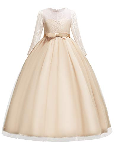 Tie Back Floor - YaYa Bay Pageant Dresses for Girls, Kids Floor Length Autumn Fancy Nylon Lace Round Neck A Line Lace-Merging Bridesmaid Dress Go with Petticoat Special Occasion Skirt Size 4-5 (Champagne, 120)