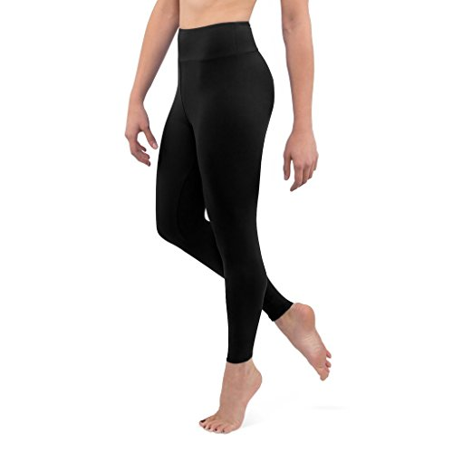 Posh by Anna Ultra Soft Double Brushed Women's Leggings With Premium Yoga Waistband - Slimming, High Waist - Solid Opaque - One Size (0-12) - Black