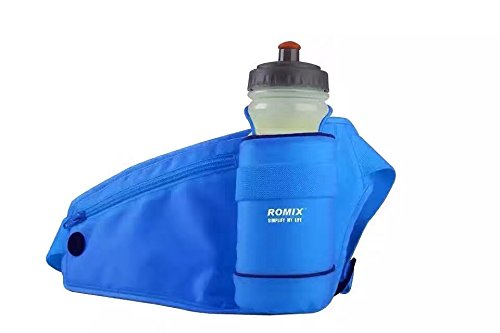 Hydration Running Belt Bag Waist Pack, Lightweight Outdoor Sports Adjustable Running Belt with Water Bottle Holder Holster, Roomy Zip Pouch for iPhone 7Plus,Galaxy S8 S8plus,etc (Blue)