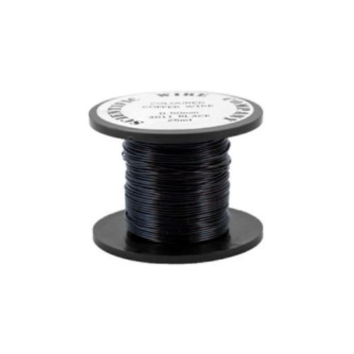1 x Black Round Copper Craft Wire 15 Metre x 0.5mm Coil - (W5011) - Charming Beads Something Crafty Ltd