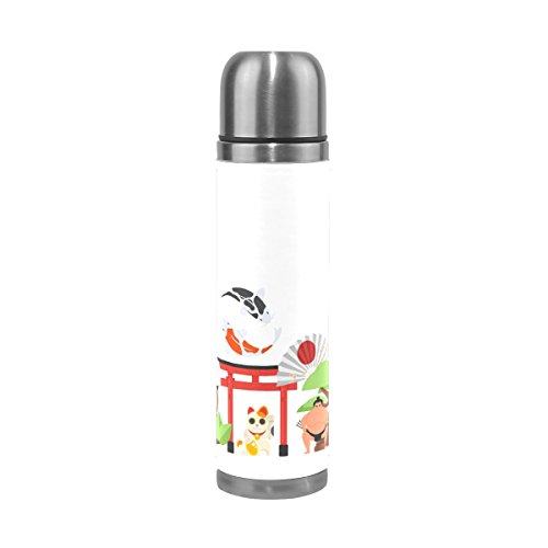 imobaby Jennifer Japanese Traditional Objects Leak Proof Water Bottle Insulated Vacuum Stainless Steel Thermos by imobaby