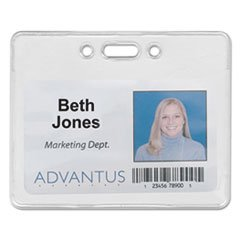 Proximity Id Badge Holder, Horizontal, 3 3/8w X 2 3/8h, Clear, -