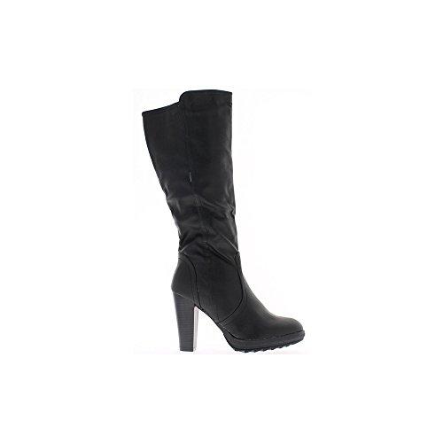 Bottes femme noires à talons épais de 10cm et semelle épaisse