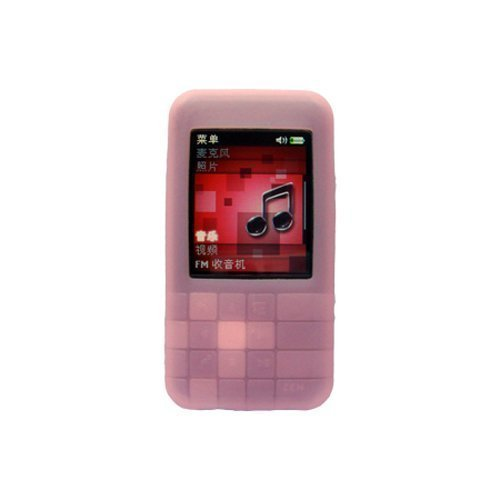 (Creative Zen Mozaic MP3 Player Accessory - Soft Pink Silicone Skin Case Cover with Belt Clip and Armband)