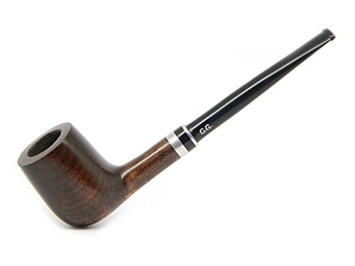 Watson&G.G. - Small Tobacco Smoking Pipe (Metal Filter) Pear Wood +Pouch (Black Stem Tobacco Pipe)
