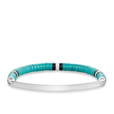 Thomas Sabo Bracelet ethnique en argent Sterling Pont d'amour Turquoise L 17,5