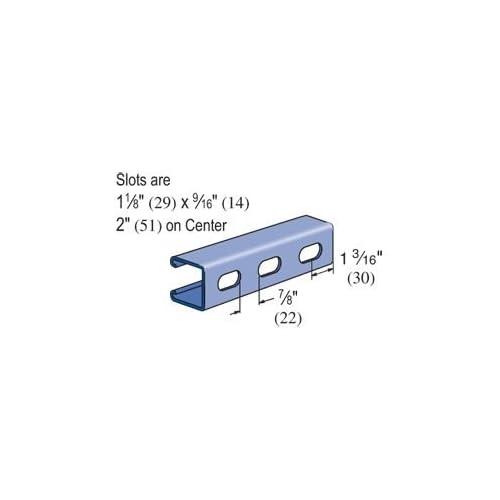 """Genuine Unistrut P1000T 1-5/8"""" 12 Gauge Strut Channel, Slotted Back, Pre-Galvanized 5 Foot Length"""