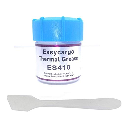 (Easycargo 20gr Thermal Paste Kit, Conductive Grease, Heatsink White Silicone Carbon Compound for Cooling Heat Sink Interface CPU GPU VGA LED Transistors (20gr))