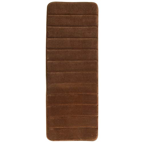 "KMAT  47"" x 17"" Long Anti-Fatigue Memory Foam Kitchen Mats Bathroom Rugs Extra Soft Non-Slip Water Resistant Rubber Back Anti-Slip Runner Area Rug for Kitchen and Bathroom Brown"