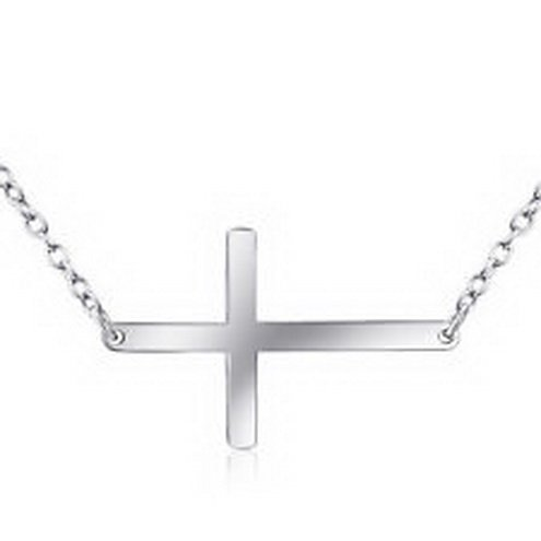 jacob alex #40630 925 Sterling Silver Sideways Horizontal Cross Pendant Necklace Womens by jacob alex