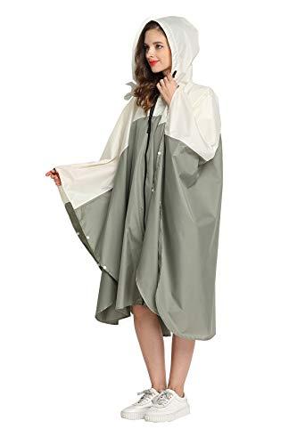 Women Rain Poncho Stylish Polyester Waterproof Raincoat Free Size with Hood Zipper Styles (Green White)