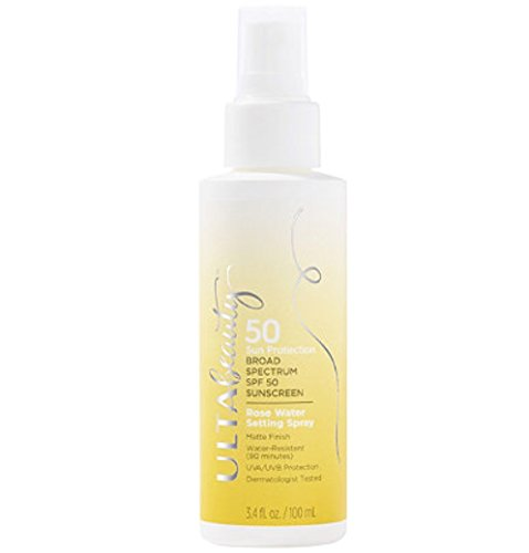 (Ulta Beauty SPF 50 Sunscreen Rose Water Setting Spray)