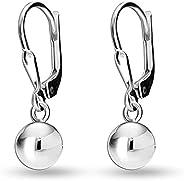 LeCalla Sterling Silver Round Classic SET Leverback Ball Drop Dangle Earrings for Women Teen Girls