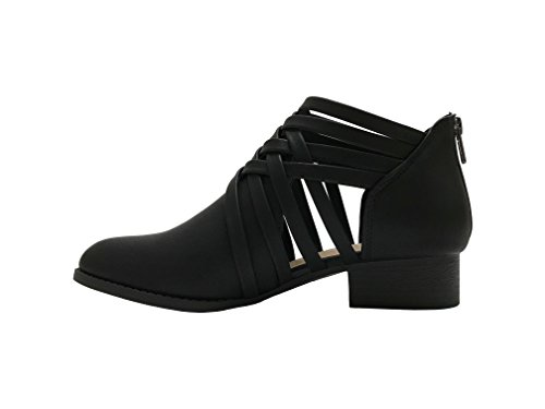 City Classified Women's Ankle Bootie Woven Strappy Weeve Criss Cross Low Chunky Heel Black