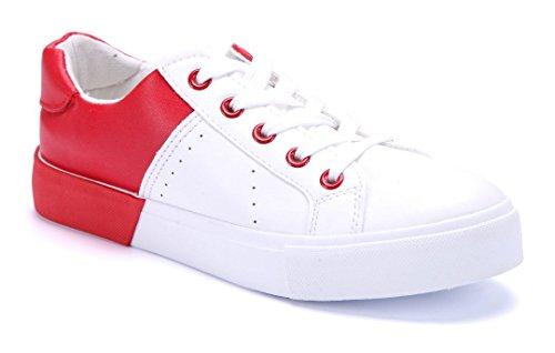 Schuhtempel24 Damen Schuhe Niedrig Sneaker Flach Rot xxtTiH ... ... ... a0a601