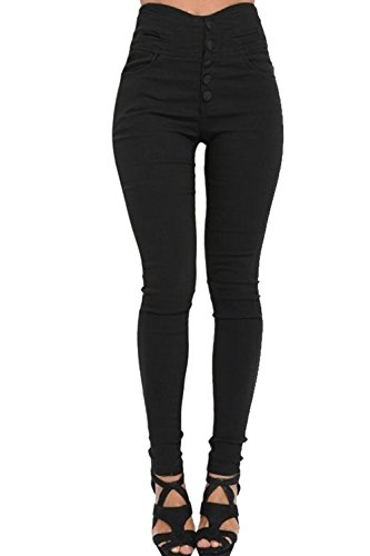 Elásticos Black Con Skinny Cintura Casual Sólidos De Pantalones Mujeres Botones Nimpansa Alta De Leggings Oq1ZZ7
