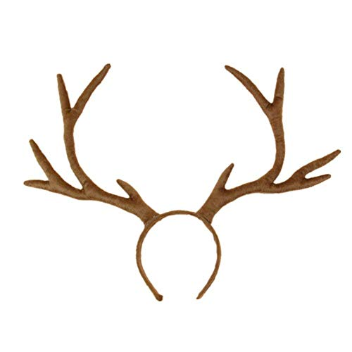 YOXI Cosplay Hair Band Short Plush Reindeer Antlers Headband Christmas and Easter Halloween Party Props Headbands -