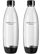 SodaStream Twinpack Fuse Carbonating Bottles 1 l black for Sparkling Water Maker, compatible with Play, Source, Power, Spirit & Genesis, 2 x 1 l reusable & refillable
