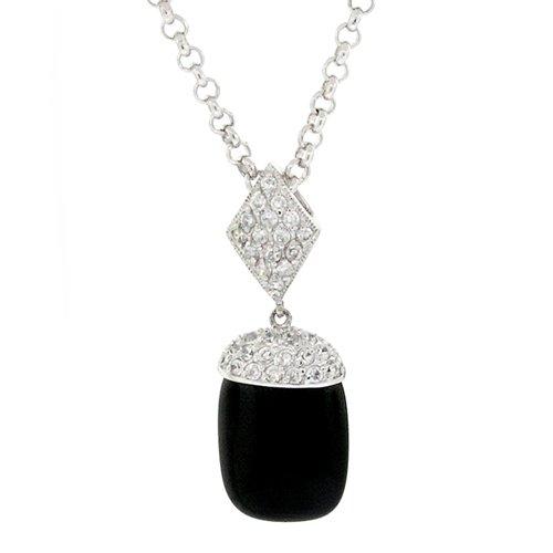 Elegant Silver Dangle Pendant w/Black Onyx & White CZs