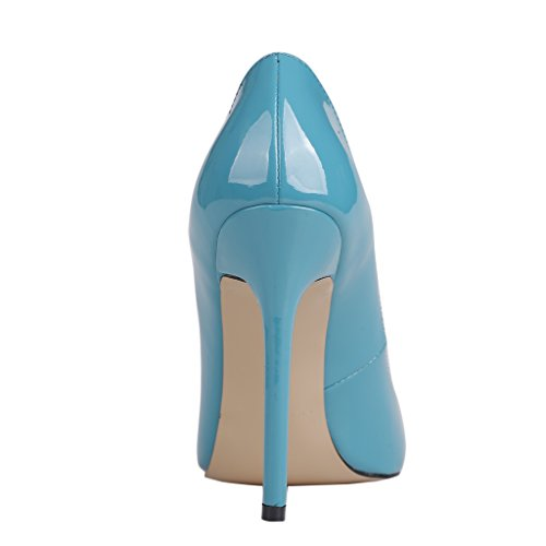 EKS - Merceditas de tacón alto Mujer Blau-B-Lackleder