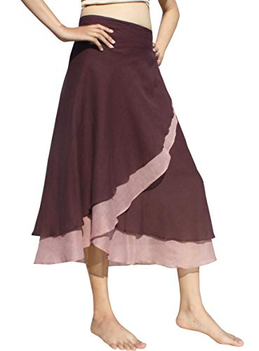 - Raan Pah Muang Brand Light Cotton Two Layered Carved Cut Summer Wrap Skirt, Large, Bole Brown