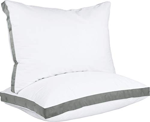 Utopia Bedding Gusseted Pillow (2-Pack) Premium Quality Bed Pillows – Side Back Sleepers – Grey Gusset – Queen – 18 x 26…