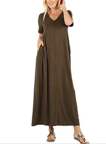Zenana Women's Premium Casual Long Relaxed Loose TShirt Maxi Dress With Half Sleeves Pockets S3XL