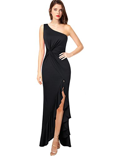 VFSHOW Womens One Shoulder Ruched Ruffle Formal Evening Mermaid Maxi Dress 509 BLK L