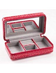 Sunset Red Julianne 7 x 4 inch Fashion Animal Print Travel Jewelry Case