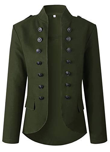 Long Sleeve Double Breasted Steampunk Military Marching Band Drummer Uniform Jacket Coat Top Army Green L