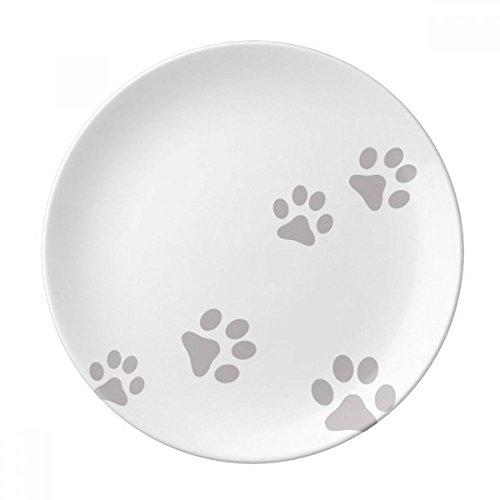 Cat Meow Animal Gray Footprint Art Paw Print Dessert Plate Decorative Porcelain 8 inch Dinner Home by DIYthinker