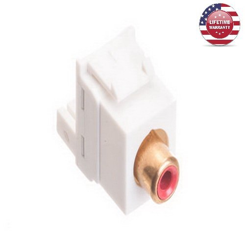 5 Pack X ICC Gold RCA IDC Punchdown Keystone Jack - Red Insert- White - By Nexiron