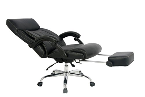 VIVA OFFICE High Back Bonded Leather Recliner Office Chair with (Chrome Reclining Recliner)
