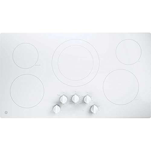 GE JP3036TLWW 36″ Electric Cooktop with 5 Elements, Smoothtop Style, Keep Warm Zone, Hot Indicator, ADA Compliant, UL Safety Listed, Glass Ceramic Surface