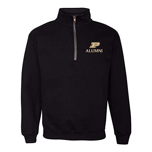 UGP Campus Apparel AQ509 - Purdue Boilermakers Primary Alumni LC QZIP - Large - Black (Alumni Clothing)