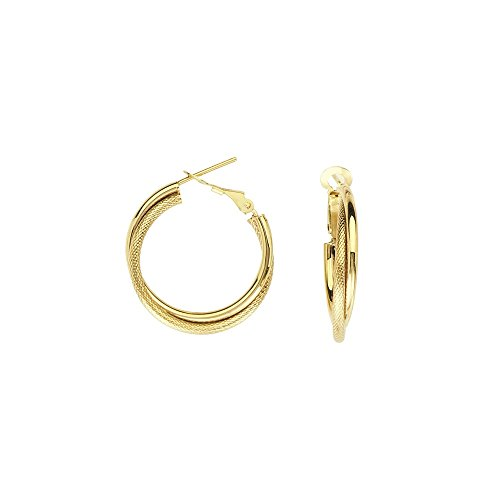 14k Yellow Gold Interwoven Plain Tube Round Hoop Earrings Omega Clip by JewelryWeb