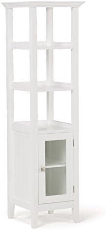 Simpli Home Acadian 56.1 inch H x 15.75 inch W Bath Storage Tower Bath Cabinet in White