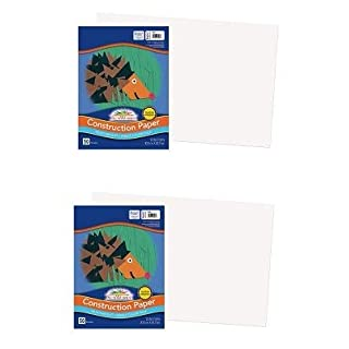"SunWorks Construction Paper, White, 12"" x 18"", 50 Sheets (Тwо Расk)"