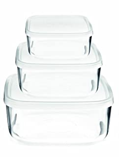 Bormioli Rocco 388550SB4021990 Frigoverre Square Glass Food-Storage Containers with Lids, Set of 3, Clear (B0000DDVN5) | Amazon price tracker / tracking, Amazon price history charts, Amazon price watches, Amazon price drop alerts