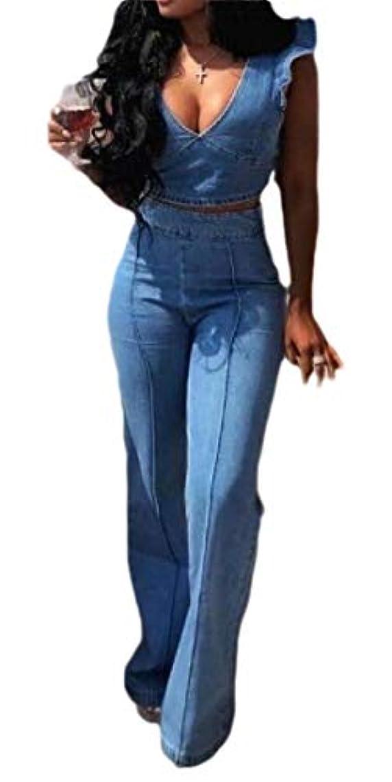 不快な割り込みブレースgawaga Women Tank Top and Wide Leg Palazzo Pants Jeans Jumpsuit 2 Pcs Romper