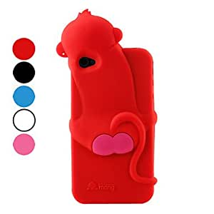 SJT Special Design Monkey Style Silicone Case for iPhone 4 and 4S (Assorted Colors) , Red