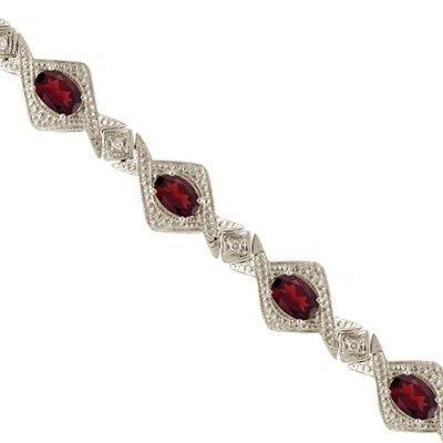 Antique Style Garnet and Diamond Link Bracelet 14k White Gold (5.63ctw)